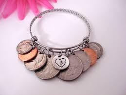 coin charm bracelet money bracelet money jewelry gift for her gift for him coin keychain coin collector gift coin collector by charmaccents on etsy