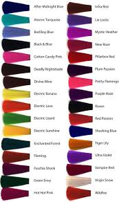 Well Hair Color Chart How To Dye Hair Crazy Colors Hair Dye Color Chart Manic