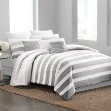 ... Grey Striped Bedding Blue And White Striped Comforter Covers Design  White Wooden: ...