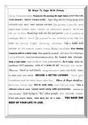 worksheet ways to cope stress english worksheet 50 ways to cope stress