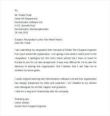 2 Week Resignation Letter Stunning Engineer Resignation Letter Notice Of 48 Weeks Week For Work Sample