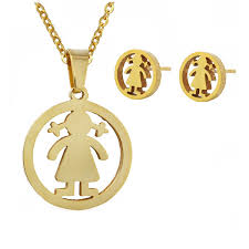 tou toso new stainless steel 18k gold silver high quality girl charms pendant necklace and earring