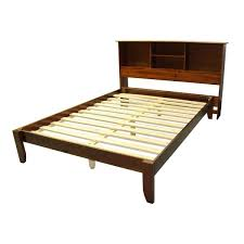Scandinavia Queen-size Solid Wood Tapered Leg Platform Bed with Bookcase  Headboard
