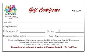 gift certificate for business gift certificates downtown brockville dbia