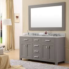 appealing interesting rectangle 60 inch double sink vanity and grey cabinet plus grey large rug