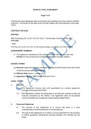 Example Of An Agreement Service Level Agreement Free Template Sample Lawpath