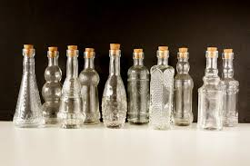 Decorative Bottles With Stoppers Decorative Clear Glass Bottles with Corks 60 tall Set 3