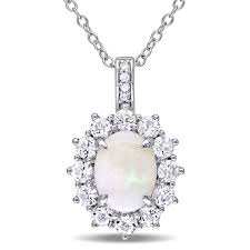 asteria 2 carat t g w opal and white topaz with diamond accent sterling silver halo pendant canada