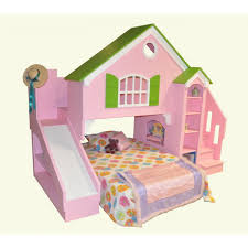 Pink Wooden Bunk Bed With Stairs Combined With Shelves Also Slide