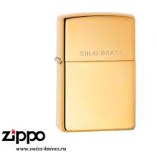 <b>Зажигалка</b> широкая Zippo Classic High Polish <b>Solid Brass</b> ...