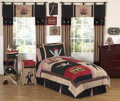 Pirate Bedding for Boys Full/Queen Comforter Set With Skulls Ships Brown  Red Black