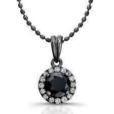 14k black gold white diamond halo pendant round black diamond center
