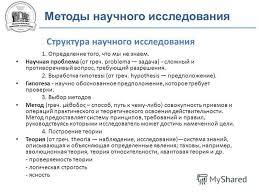 Презентация на тему Конспект на правах рукописных материалов не  6 Методы научного исследования