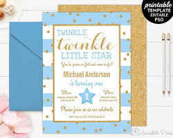 Boys Birthday Party Invitations Templates Printable Twinkle Little Star Boy Birthday Party Invitation