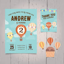 Balloon Birthday Invitations Hot Air Balloon Birthday Invitation Vector Free Download