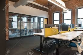 Open concept office space Layout Stock Photo Trendy Modern Open Concept Loft Office Space With Big Windows Natural Light And Layout To Encourage Collaboration Creativity And 123rfcom Trendy Modern Open Concept Loft Office Space With Big Windows