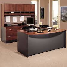 Bush Series C U-Shaped Desk with 4 Door Hutch and Lateral File | Hayneedle