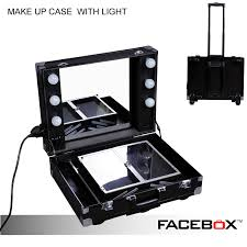 facebox professional makeup artist lighting makeup case with mirror portable beauty box with light pvc material