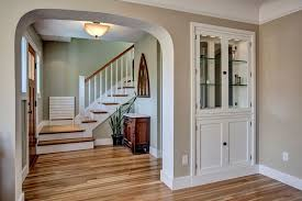 Craftsman Entryway with Hardwood floors, Coved ceiling, flush light,  American Original Country Natural