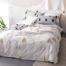 Christmas bedding set cotton satin queen size 3/4pcs cartoon duvet ... & Christmas bedding set cotton satin queen size 3/4pcs cartoon duvet cover  king//full/twin bed sheet pillowcases tree&elk pattern-in Bedding Sets from  Home ... Adamdwight.com