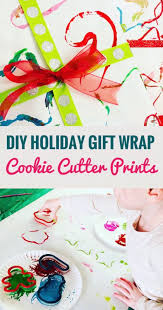 cookie cutter painting gift wrap easy and art project to do with kids