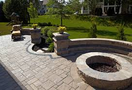 Small Picture Brick Paver Patio for Home Brick fire pit with brick seating wall