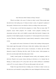 violence on tv essay television how it can affect your children  essay part
