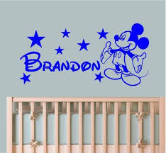 mickey mouse wall sticker personalised style any name wall decal wall art wallpaper custom color baby wall decals mural jw152 in wall stickers from home  on personal wall art baby name with mickey mouse wall sticker personalised style any name wall decal