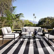 modern patio stripe indoor outdoor rug black williams sonoma mpoqagd