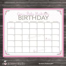 Princess Baby Shower Guess The Due Date Calendar Pink Baby Shower