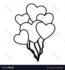 hearts silhouette hand drawn silhouette with balloons of hearts vector image