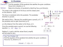 find the equation of the parabola that satisfies the given conditions focus