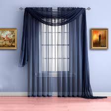 Warm Home Designs Warm Home Designs Navy Blue Window Scarf Valances Sheer Navy