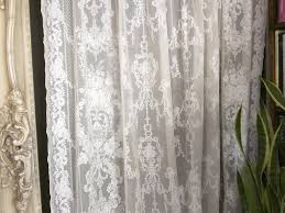 Lace Window Treatments 92 Inch French Lace Curtains Lydia Antique Style Ivory Cotton