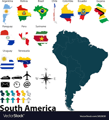 Maps With Flags Of South America