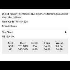 Roma Costume Size Chart Silver Stars Blue Shorts