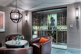 beautiful wine cellar with unique pendant lighting