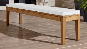 Teak Dining Bench with White Cushion