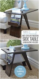 modern side tables. Build A DIY Mid Century Modern Side Table With Magazine Holder Using From Just One Board Tables