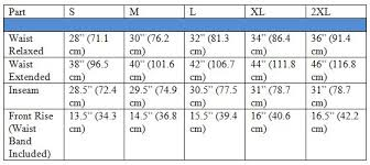 French Terry Jogger Pants Size Chart