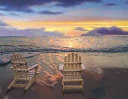 adirondack chairs on beach sunset.  Chairs A Beautiful Sunset Over The Ocean With Adirondack Chairs On Beach And To Chairs On Beach Sunset E