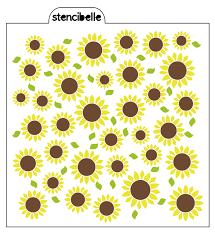 Sunflower Stencil Designs Sunflowers Stencil Set Coordinating Leaves Stencibelle
