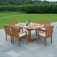 round wooden garden table and 6 chairs starrkingschool with regard to wooden garden furniture 6 seater