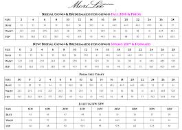 Wedding Dress Size Chart Mori Lee Wedding