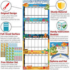 How To Make A Potty Training Chart Potty Training Chart For Toddlers Sea Theme Sticker Chart Celebratory Diploma Crown And Book 4 Week Potty Chart For Girls And Boys Potty
