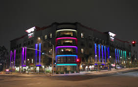 At the development, vertical fingers of LED light surround the exterior of  the structure, converging at the corner of the building where horizontal  color ...