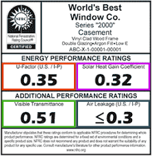 Energy Performance Label National Fenestration Rating Council