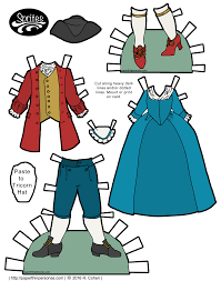 18th century clothing for paper dolls including a round gown and a tricorn hat