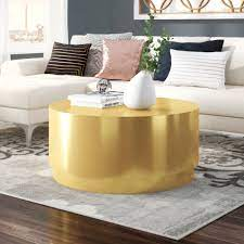 Set of 2 bronze gold nesting coffee tables, round large modern minimal. Drum Gold Coffee Tables You Ll Love In 2021 Wayfair