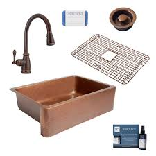Sinkology Adams All In One Farmhouse Copper 33 In Single Bowl Kitchen Sink With Pfister Rustic Bronze Faucet And Disposal Drain